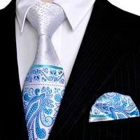 Dots Paisley White Blue Azure Yellow Beige Silver Mens Neckties Tie Set Handkerchief 100 Silk Jacquard