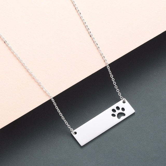 Cat Dog Paw Necklace Pendant Geometric Bar Stainless Steel Jewelry Pet Lover Gift Women Necklace Cute Baby Gift