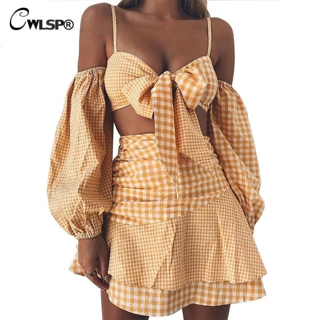 CWLSP Plaid Skirt Set Off shouder Summer High Waist Two pieces set Dress Ruffles Tie up Holiday vestido conjunto feminino QL3827