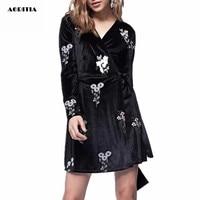 2018 Women Autumn Winter Long sleeve V neck Dresses Velvet Dress Women