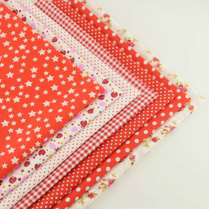 Hot Red Color Mix 7 PCS Cotton Plain Fabric Flowers/dots/check/star/strawberry Design Clothing Telas Material Home Decoration