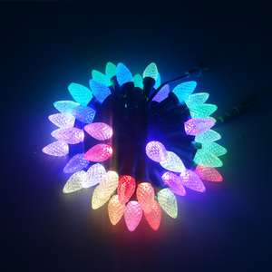 Image 4 - C9 DC5V WS2811 50nodes addressable RGB LED Christmas pixel string light;6inches(15cm) wire spacing;all BLACK wire;IP68