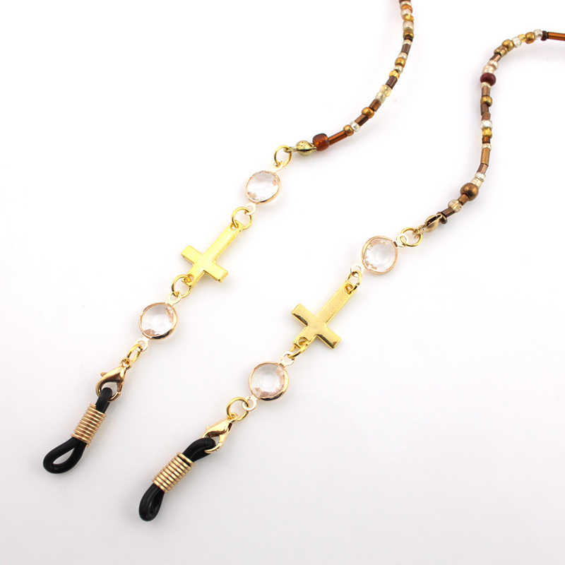 Gold Plated Ring Cross Beaded Chain Sunglasses Chains Necklace Reading Glasses Cord Holder Neck Strap Rope for Eyewear