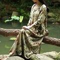 БЕЗМЯТЕЖНО Vestidos 2017 Весна Осень Женщины Dress Китайские Халаты Старинные Печати Плюс Размер Белье Dress Long Maxi Dress S30