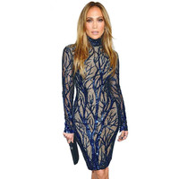 New Women Sequin Dress Blue Sparkle Long Sleeve Evening Party Dresses Female Sexy Sequin Embroidery Pencil
