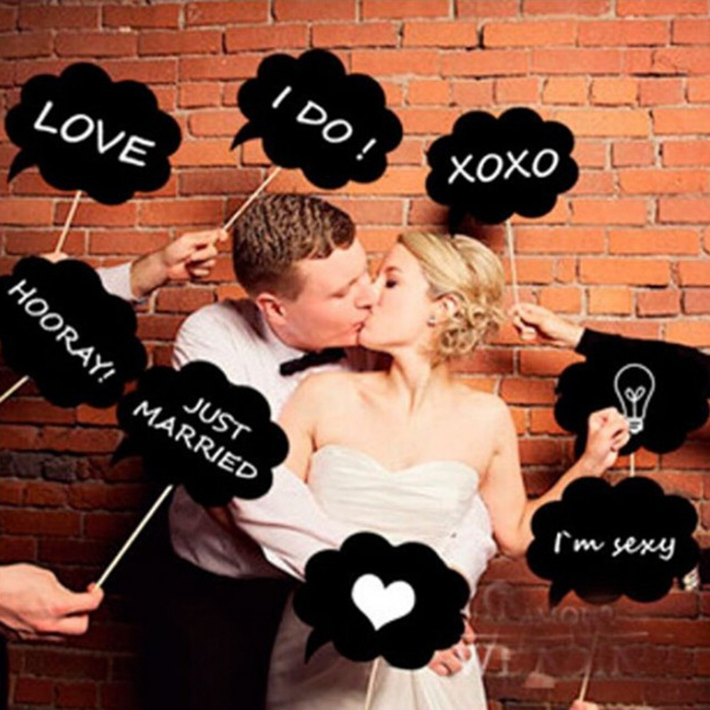 Color booth online - 10pcs Lot Picture Photo Booth Paper Stick Prop Diy Bubble Speech Chalk Board Wedding Party Photobooth Creative Selfie Chalkboard