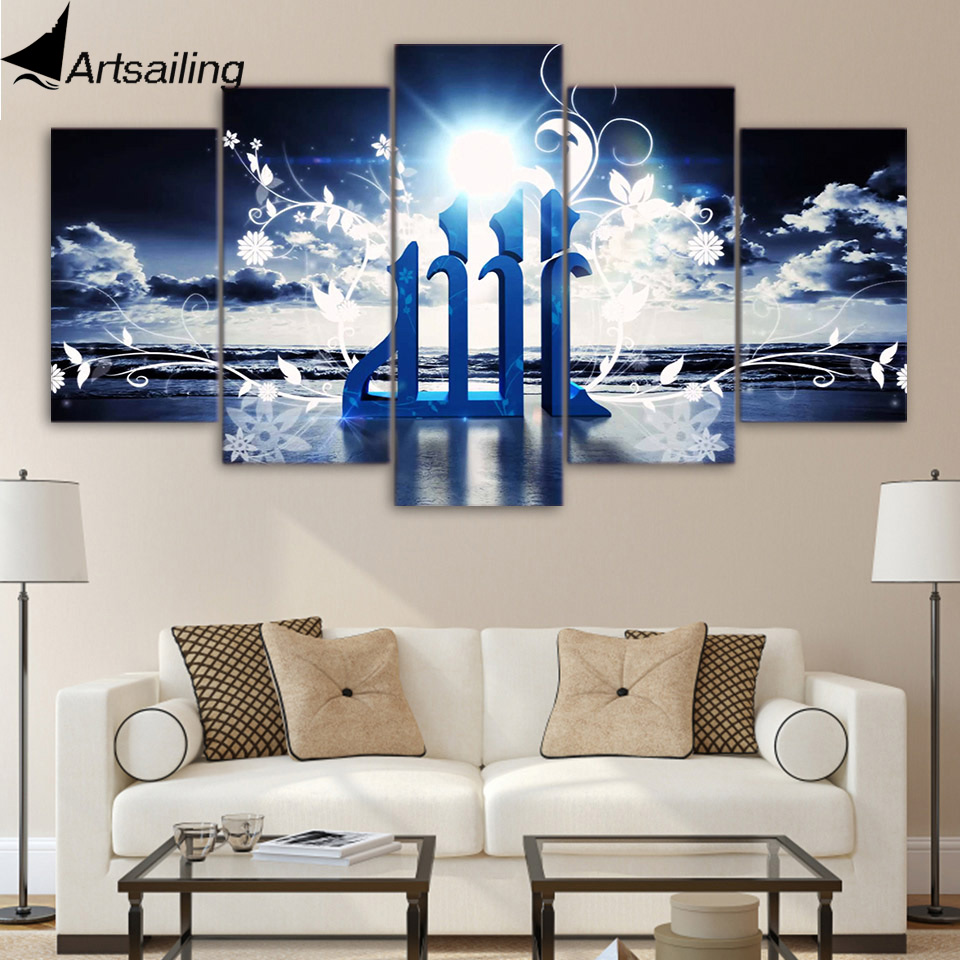 aliexpress com buy 5 piece canvas art hd print home decor islam white light flower painting