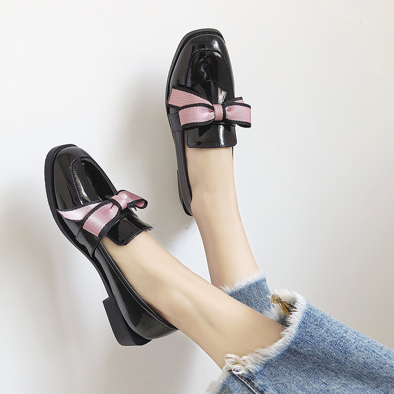 sweet pink bow knot leather shoes student girls low heel loafers woman brand oxford shoes autumn square toe espadrilles shoes 1