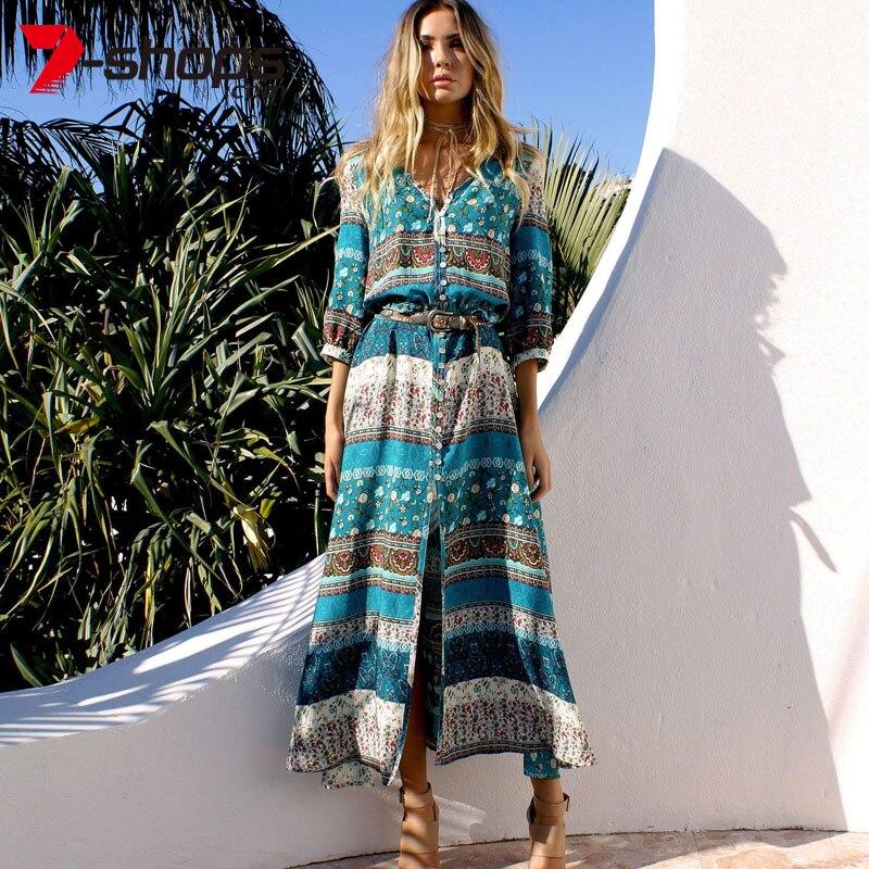 Ccibuy Women Beach Boho Dresses Bohemia Floral Print V-Neck Long Dress Female Summer Plus Size Maxi Dress Vestidos Dresses Lady