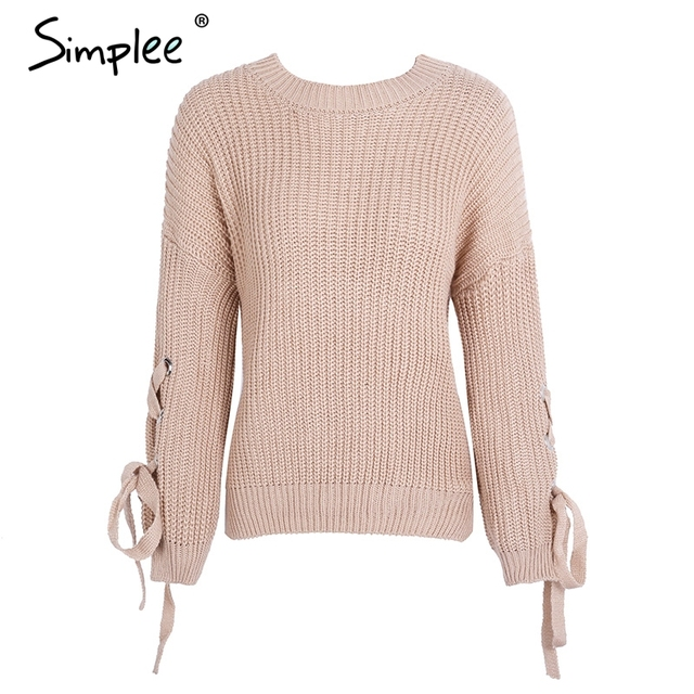 Simplee Casual o neck knitted sweater women jumper Lace up sleeve knitting pull femme 2017 autumn winter sweater pullover female