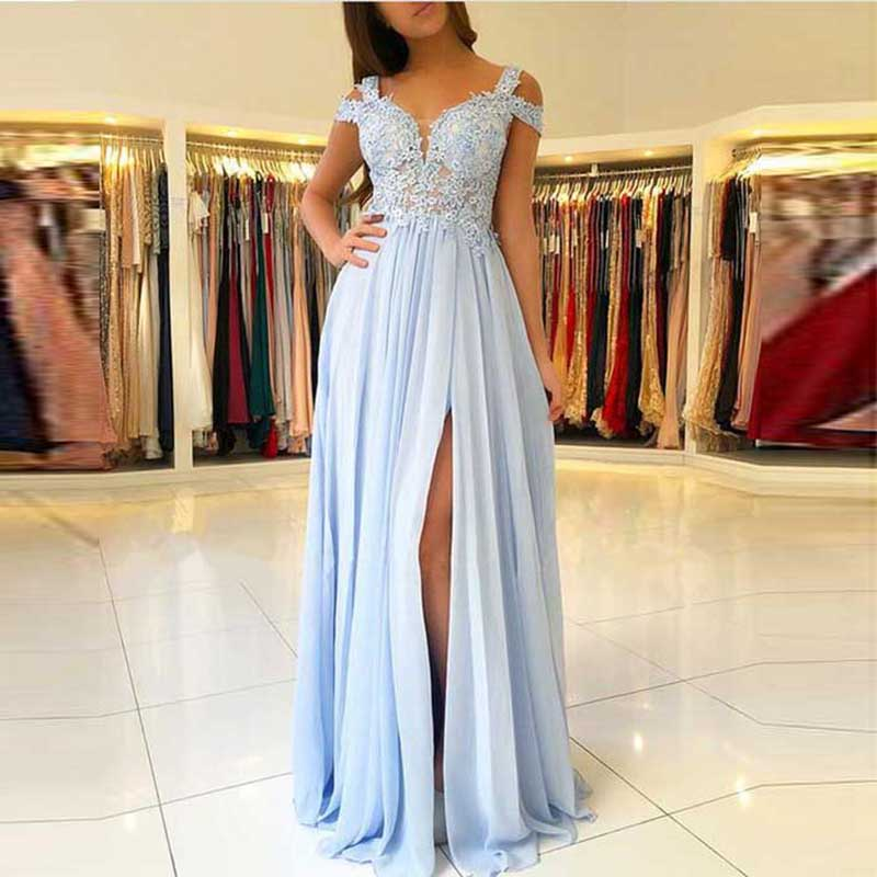 Sexy Spaghetti Strap   Evening     Dress   Long Chiffon with Lace Appliqued Sleeveless   Evening   Gown Robe De Soiree Side Split