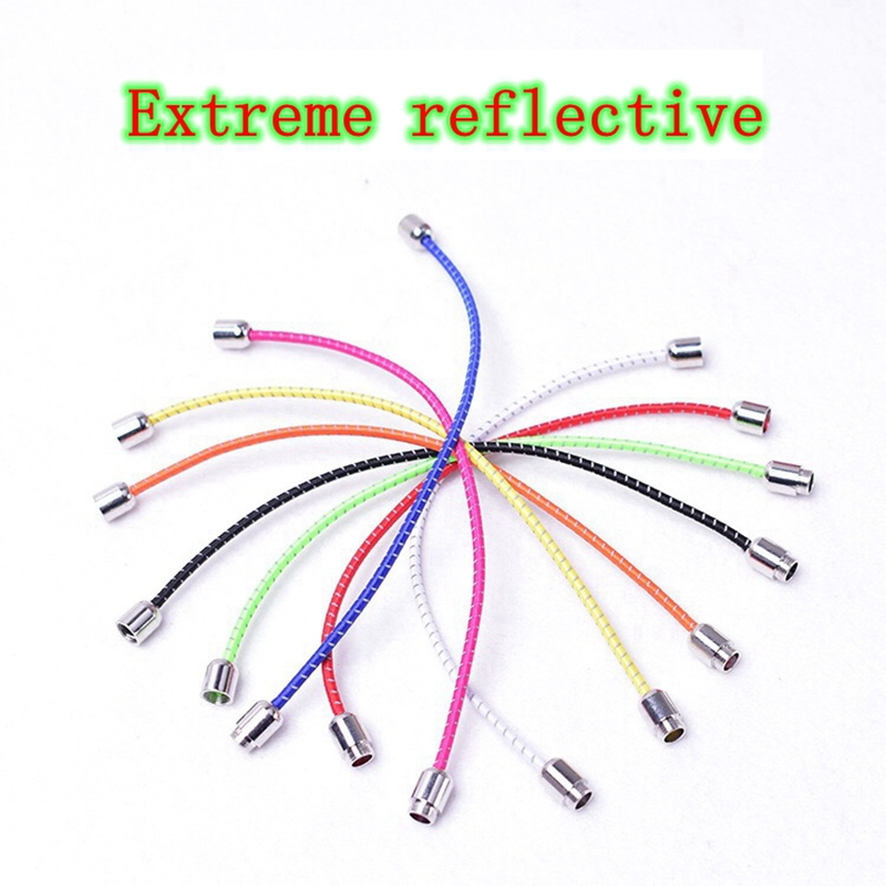 1 Pair Elastic Shoelaces Reflective Round Shoe laces Outdoor Leisure Sneakers No Tie Shoelace Metal Lock Lazy Shoe lace in Shoelaces from Shoes