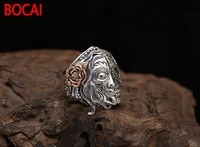 925 Silver Retro Thai Silver Jewelry Individuality Double Face Face Skull Fashion Punk Ring