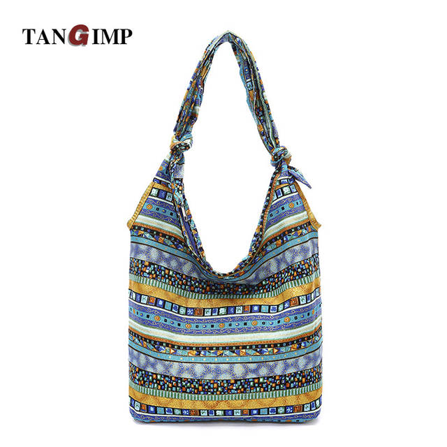 42da090386b TANGIMP Women Slouch Bags Blue Aztec Hippie Gypsy Boho Blue Ethnic Tribal  Oversize Hobo Sling Crossbody
