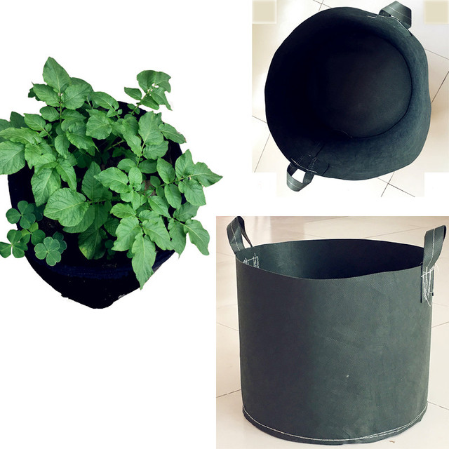 black round fabric pots plant pouch root container 5 gallon 10 gallon grow bags handles aeration