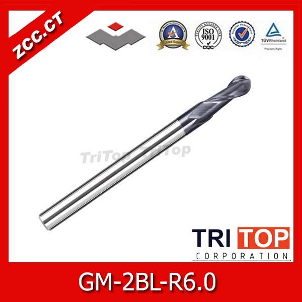 цена на ZCC.CT GM-2BL-R6.0 2 flute ball nose end mills with straight shank/ Long cutting edge solid carbide cutting tool