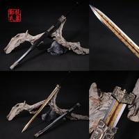 Bronce antiguo chino largo sword imiated lámina del acero de damasco de ocho lados de metal artesanía decoración del hogar