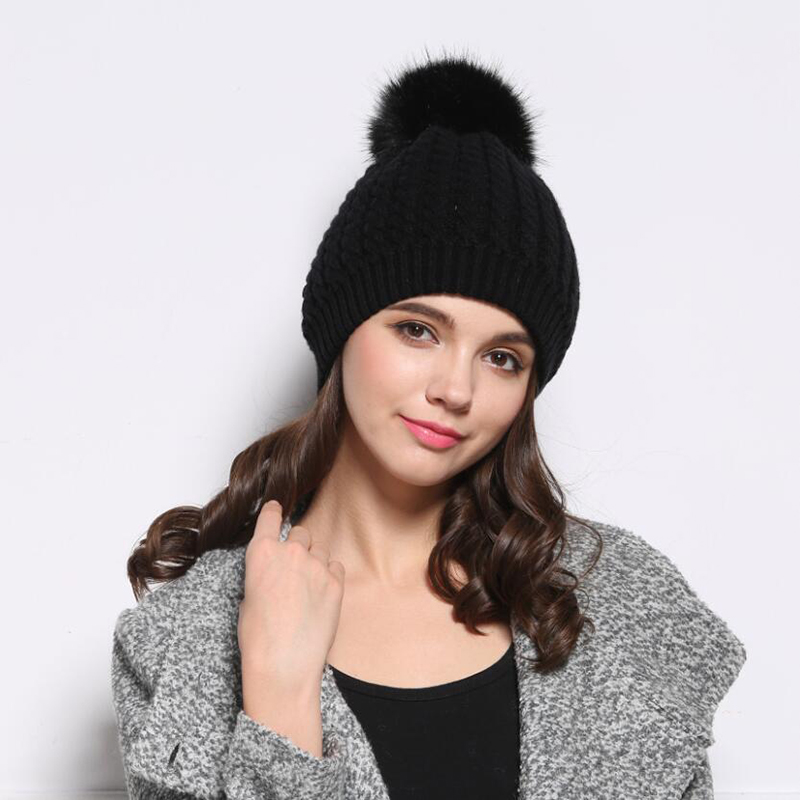 Double-deck Knitted Wool Real Natural Raccoon Fur Pompon Hat Female Winter Warm Braid Cap Headgear For Women Skullies Beanies 18cm natural raccoon fur pompon hat thick womens winter hat caps female skullies knitted beanies new thick female cap