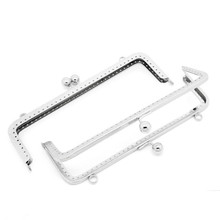 10Pcs Silver Tone Clutch Coins Purse Metal Rectangle Frame Kiss Clasps Lock DIY Handbag Handle 20x8.5cm