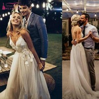 Romantic Bohemian Boho Spaghetti Straps Wedding Dresses Garden Spring Applique Backless Lace Bride Dress Arabic Dress JQ185