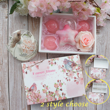 22*15*5cm 5pcs spring pink flower bird singing Paper Box as Macaron Chocolate cookie wedding Birthday Party Gifts Packaging