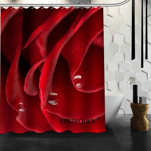New Bathroom Curtains Red Rose Shower Curtain Customized Waterproof Polyester Fabric For