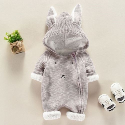 цены на Toddler Baby Boys Girls Rabbit Ears Hooded Romper Jumpsuit Outfits Set Winter Thick Cotton Cute Bunny Outfits Zip Up Rompers