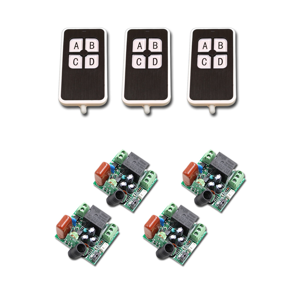 NEW 220V  1 Channel Wireless Relay Remote Control Light Switch RF Mini Receiver with Transmitter for Smart Home Hot Sale hot sale dc12v 24v 36v 48v 1ch rf wireless remote control switch system transmitter with two button receiver smart home switch