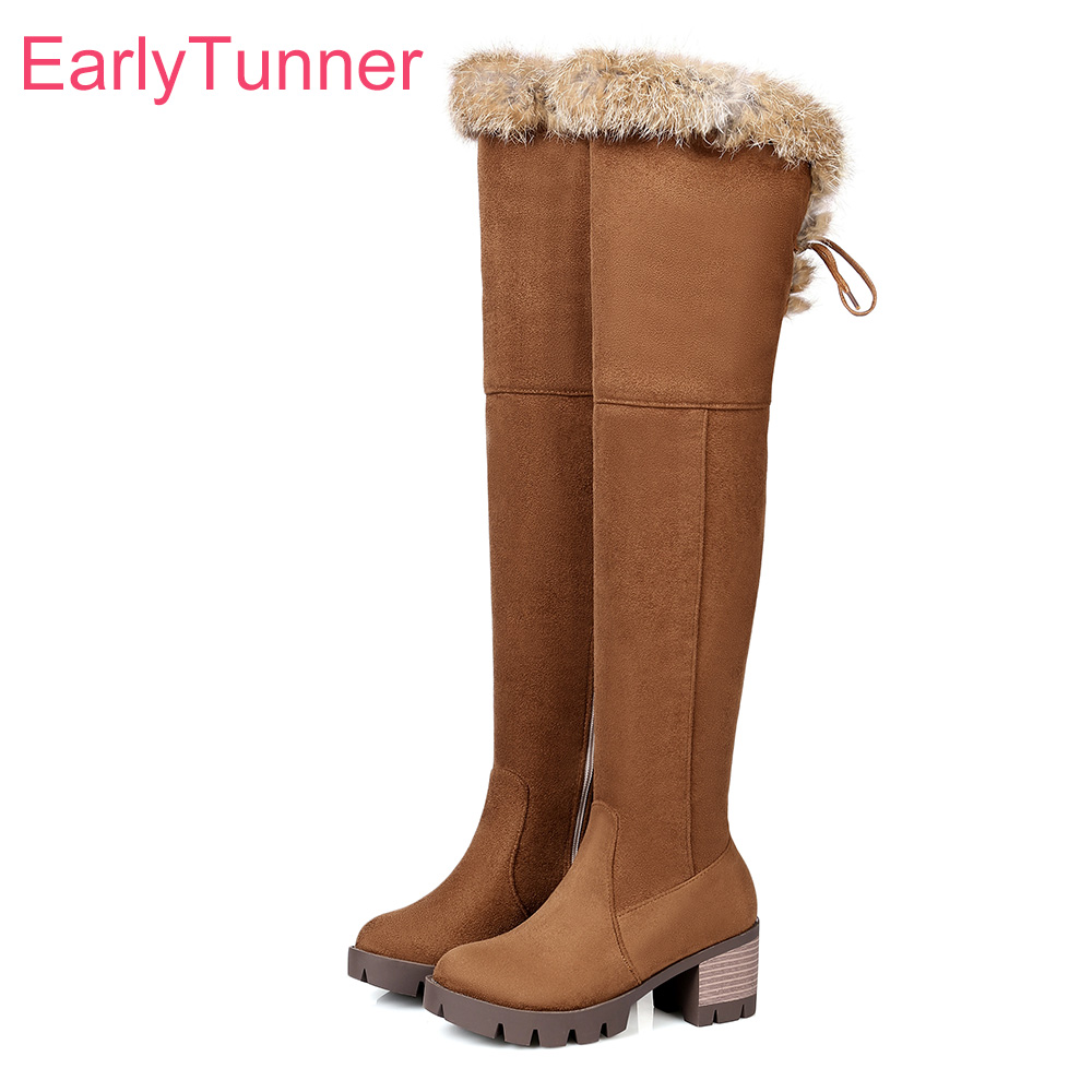 цена Brand New Winter Furry Warm Black Women Thigh High Snow Boots Brown Lady Over knee Shoes Chunky Heel EC93 Plus Big Size 10 32 46