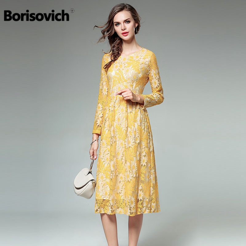 Borisovich High Quality Women Casual Lace Dress New 2018 Spring Fashion England Style Knee Length Yellow Female Dresses M156