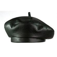 2018 Fashion Women PU Leather Octagonal Caps Newsboy Cap Vintage Bonnet Beret St