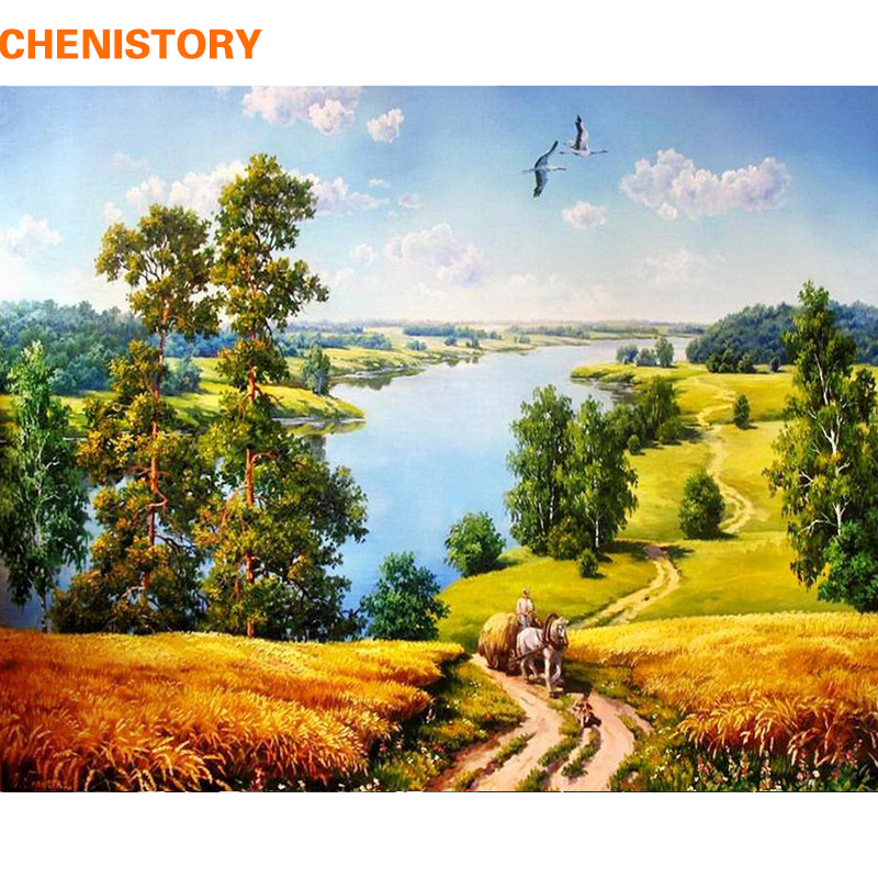 CHENISTORY Frameless DIY Painting By Numbers Rural Landscape Calligraphy Painting Coloring By Numbers Unique Gift For Home Decor