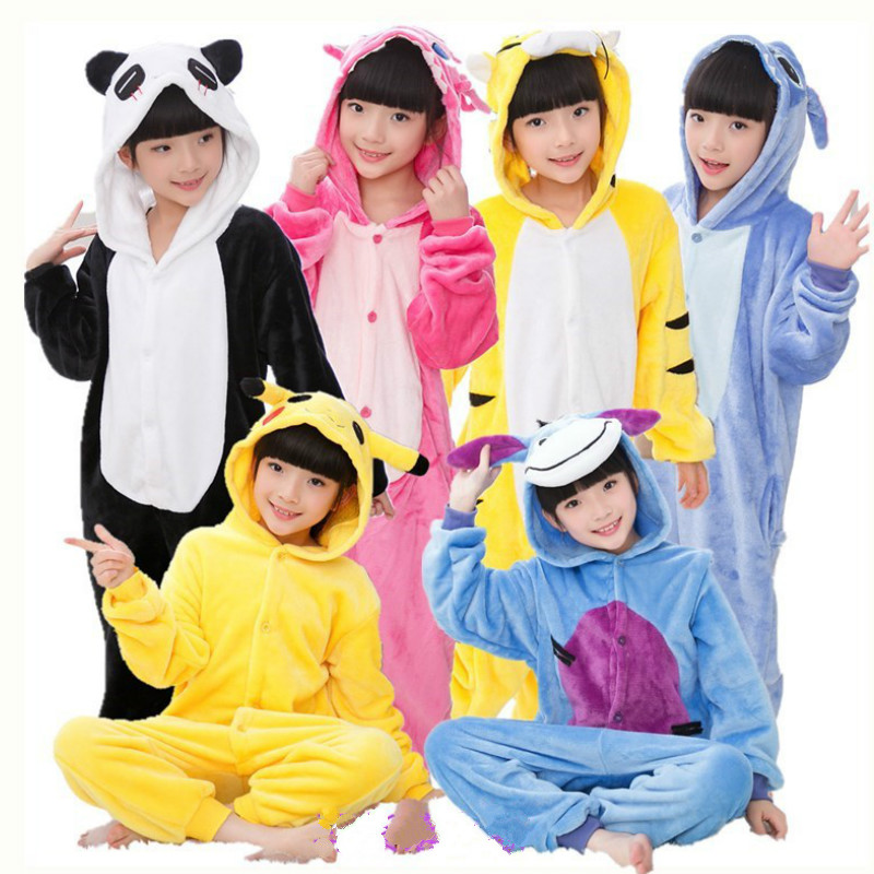 winter girl boy children's pajamas baby onesie kids pajama set animal cartoon sleepwear stitch panda pink unicorn hooded cosplay цена