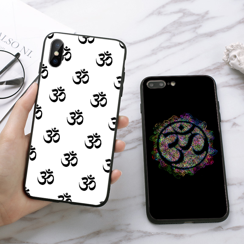 Lavaza Floral Om Yoga Hindu Aum om yaga Luxury Silicone Case for iPhone 5 5S 6 6S Plus 7 8 X XS Max XR in Half wrapped Cases from Cellphones Telecommunications