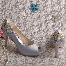 New Design Peep Toe Wedding Pumps Navy High Heels Blue Shoes