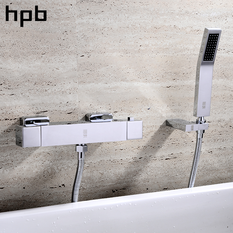 HPB Brass Chrome Finished Thermostatic Bathroom Hot And Cold Water Bathtub Mixer Bath&Shower Faucet Contemporary Style HP6102 hpb brass chrome finished thermostatic faucet bathroom shower faucets wall mounted bathtub mixer bath set fashion style hp5201