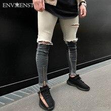 2017 envmenst брендовая одежда Мода черный и белый Лоскутная Мужская обтягивающие джинсы повседневные рваные уличный Байкер хип-хоп джинсовые штаны