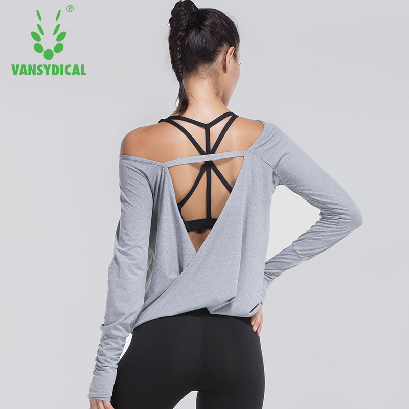 Women Yoga Shirt Solid Backless Tops For Yoga Gym Fitness