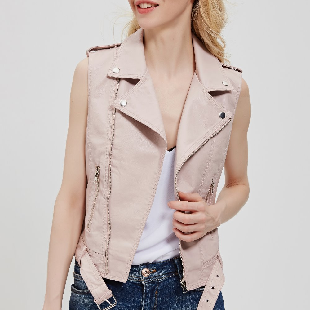 Brand 2019 New Spring Fashion Women Short Coat Washed PU   Leather   Jacket New Lady Vest Zipper Sashes Size XL Outwear Pink Red
