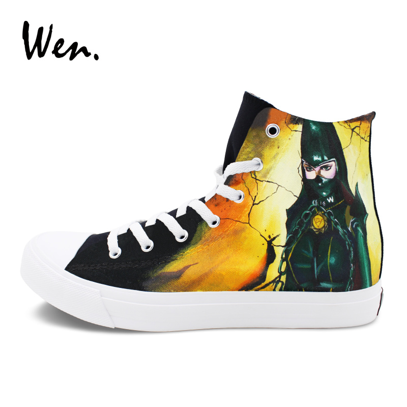 Wen Graffiti Shoes Men Black High Top Sneakers Bayonetta And Rosa Hand Painted Canvas Shoes Women Plimsolls Espadrilles Flat e lov new arrival luminous canvas shoes graffiti pisces horoscope couples casual shoes espadrilles women