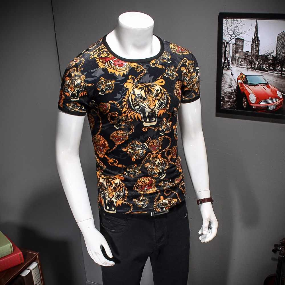 16a6f6ed9 ... 2019 Tiger T shirts Mens Black Gold T shirts Homme Leopard Print Mens  Fancy T Shirts ...