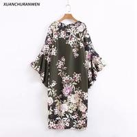 Women Fashion Loose Black Party Dress Elegant Flower Cascading Ruffles Sleeve Straight O neck Mid Calf Dress XZ2026