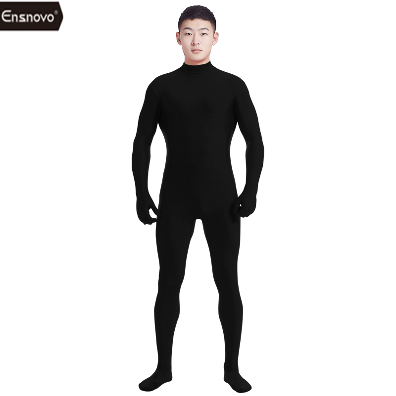 Ensnovo Men Lycra Spandex Kostym Turtleneck Unitard Yoga Dancewear One Piece Full Body Custom Second Skin Tight Cosplay Kostym