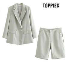 Summer Short Suit Set Double Breasted Blazer Jacket High Waist Straight Shorts Office Lady Two Piece Set(China)