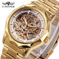 2016 WINNER Brand Men Automatic Mechanical Watch Stainless Steel Watchband Male Wristwatch Skeleton Watch Dial GIFT
