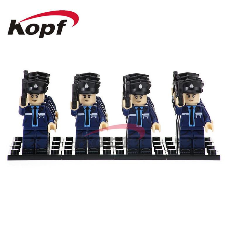 Single Sale Super Heroes Policeman With Blue Uniform Bricks Action Building Blocks Education Learning Toys for children PG1038