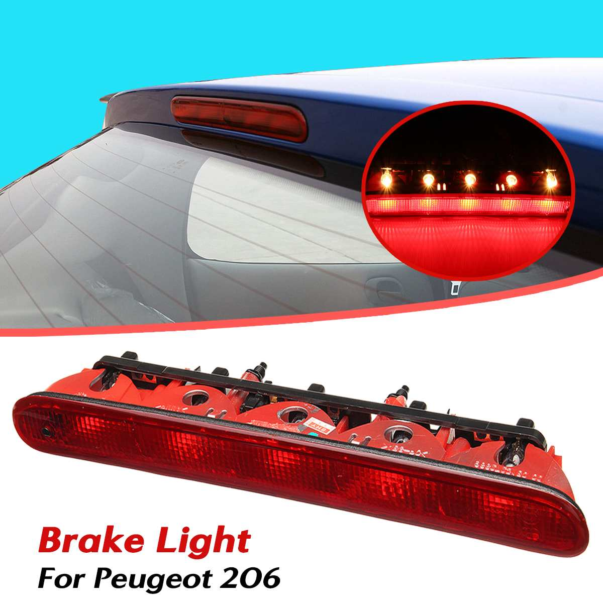 Car Red Rear Stop Light Rear Additional Third Brake Light High Mount Stop Lamps 6350K5 For Peugeot 206