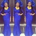 Sexy Africano Azul Royal Sereia Vestidos de Noite 2016 Nova Aso Ebi estilo Plus Size Mangas Compridas Lace Prom Party Dress Custom Made