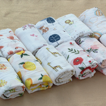 100%Cotton Flamingo Rose fruits Print Muslin Baby Blankets 1