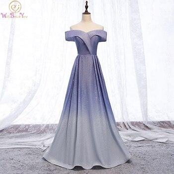 Blue Evening Dresses Bling Sparkle Gradient Color Pink Gray Elegant Reflective A Line Off Shoulder Long Prom Gowns Formal School